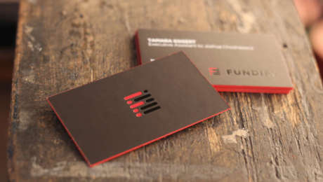 red and black foil business cards