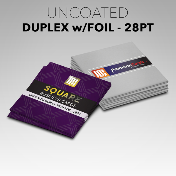 Square uncoated duplex foil business cards 28pt premiumcards square uncoated duplex foil business cards 28pt reheart Gallery