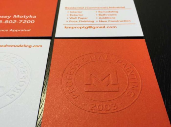 Embossed Business Cards 22pt Uncoated