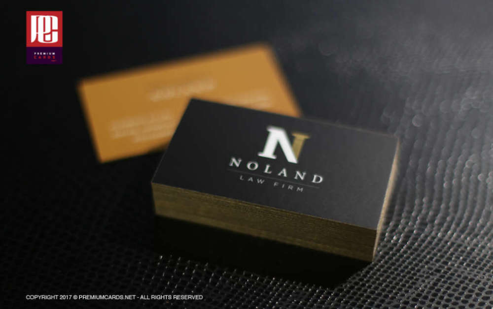 36pt Silk Business Cards with Gold Edge Paint – PremiumCards.net