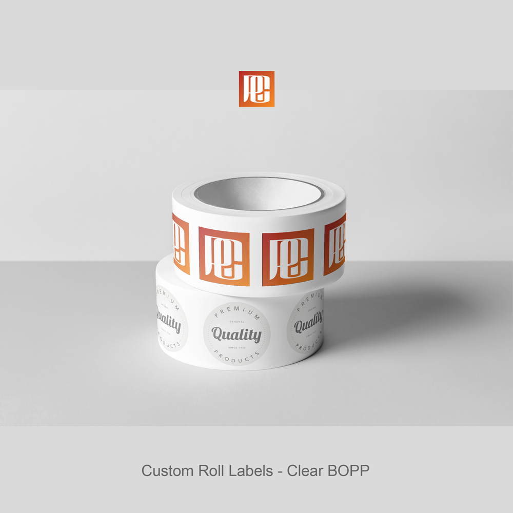 Custom roll labels clear bopp
